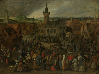 Image from object titled Market Day in a Flemish Town