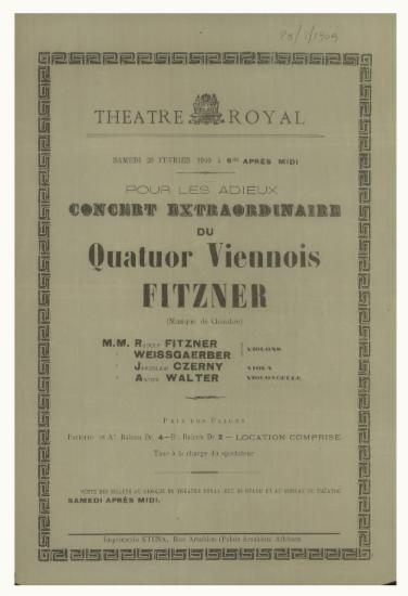 Image from object titled Concert extraordinaire du quatuor Viennois Fitzner