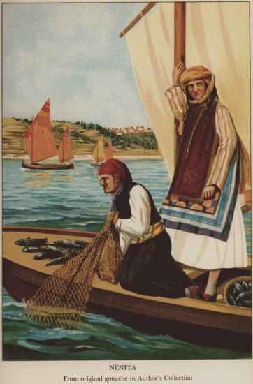 Image from object titled Costumes from Nenita, Chios. Original gouache in author's collection.