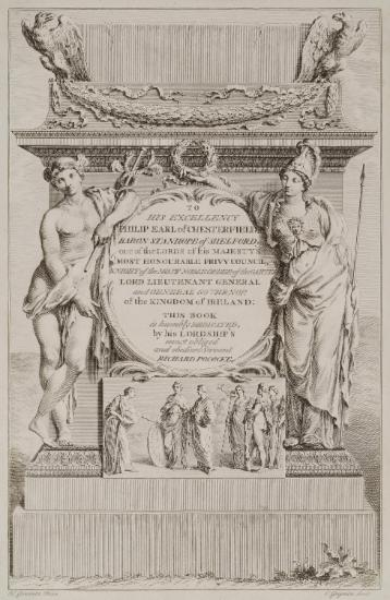 Dedication to Philip Earl of Chesterfield. Composition of mythological figures (Hermes, Athens, etc.)