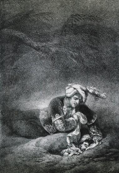 Ismael and Mariam. Lithograph after a drawing by Horace Vernet.
