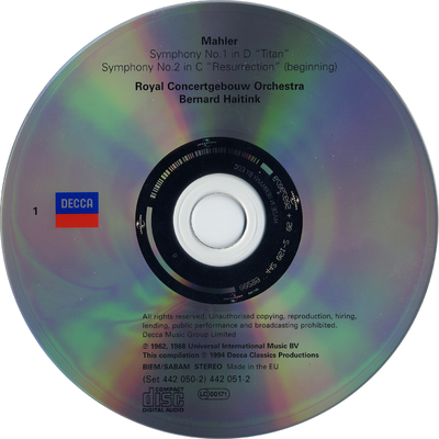 "CD 1: Symphony no 1 in D ""Titan"" ; Symphony no. 2 in C ""Resurrection"" (beginning)"
