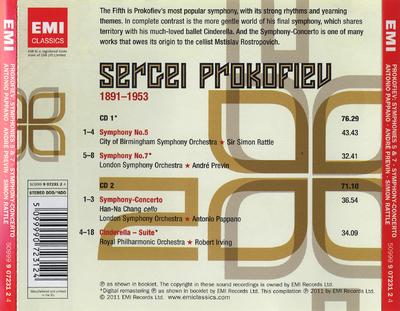 Symphonies 5 & 7 ; Symphony-Concerto ; Cinderella-Suite