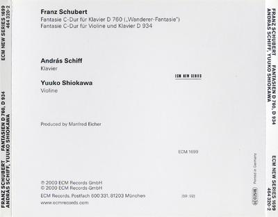 Fantasie C-Dur für Klavier D 760 ; Fantasie C-Dur für Violine und Klavier D 934