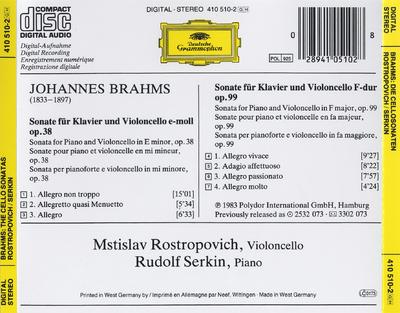 Sonate für Klavier und Violoncello op. 38 ; Sonate für Klavier und Violoncello op. 99