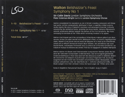 Belshazzar's feast ; Symphony no. 1
