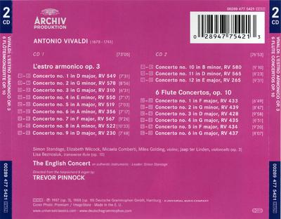 L'estro armonico op.3 ; 6 flute concertos op.10