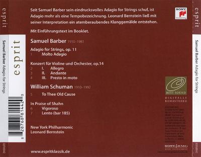 Adagio for strings, op. 11 ; Konzert für Violine und Orchester, op. 14