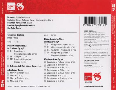 Piano concertos nos. 1 & 2 ; Ballades op. 10 ; Klavierstücke op. 76