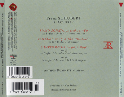 "Piano sonata, D. 960 ; Fantasie op. 15, D. 760 (""Wonderer"") ; 2 impromptus op. 90, nos. 3 & 4"