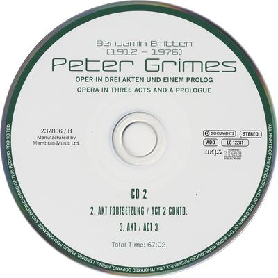 Peter Grimes Oper in drei Akten und einem Prolog = opera in three acts and a prologue