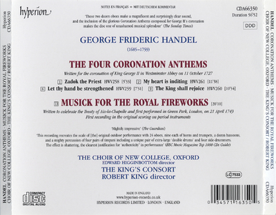 The four coronation anthems ; Musick for the royal fireworks