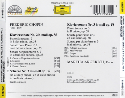 Klaviersonate No. 2 op. 35 ; Scherzo No. 3 op. 39 ; Klaviersonate No. 3 op. 58