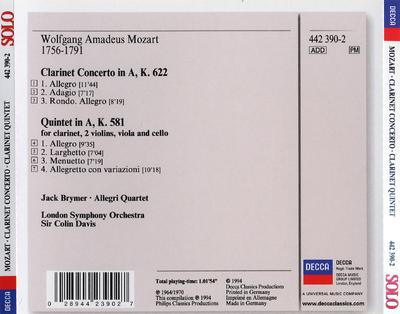 Clarinet concerto ; Clarinet quintet