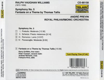 Symphony no. 5 ; Fantasia on a theme by Thomas Tallis