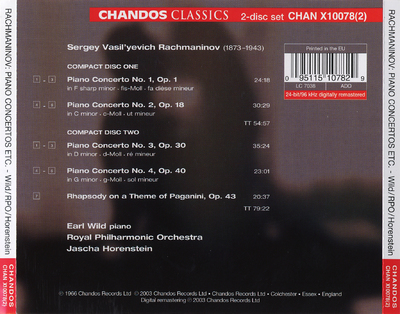 Piano concertos nos. 1-4 ; Rhapsody on a theme of Paganini