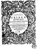 Triaca mvsicale di Giovanni Croce ... nella quale vi sono diuersi caprici à 4. 5. 6. & 7. voci nuouamente composta, e data in luce