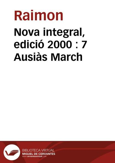 Nova integral, edició 2000 : 7 Ausiàs March