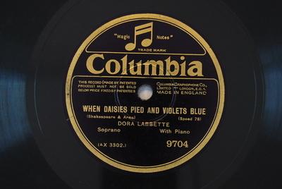 Zemire und Azor / When daisies pied and violets blue When daisies pied and violets blue / (Shakespeare & Arne)