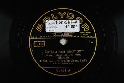 "Dank sei Dir, Herr / Die Himmel rühmen ""Cantata con stromenti"" : Arioso (Dank sei Dir, Herr) / (Händel)"