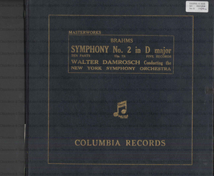 Symphony No. 2 in D major Op. 73 / Brahms ; Walter Damrosch conducting the ; New York Symphony Orchestra