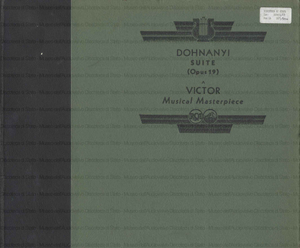 Suite Op. 19 / Dohnanyi ; Chicago Symphony Orchestra ; under the direction of Frederick Stock