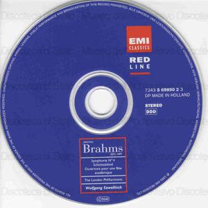 Symphonie No. 4, Op. 98 ; Schicksalslied, Op. 54 ; Ouverture pour une fete academique / Johannes Brahms ; The London Philharmonic ; Wolfgang Sawallisch