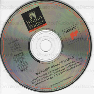 Violin concertos / Wolfgang Amadeus Mozart ; Columbia Symphony Orchestra ; Bruno Walter