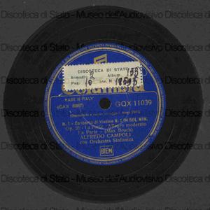 Concerto di violino : in sol min. op. 26 / Max Bruch ; Alfredo Campoli con orchestra sinfonica