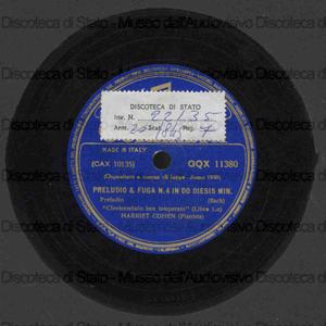 Preludio e fuga n. 4 in do diesis minore : dal Clavicembalo ben temperato / J. S. Bach ; H. Cohen, pianista