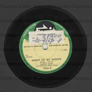 Night of my nights ; Not since ninevels / D. Kaye ; Orchestra S. Burke