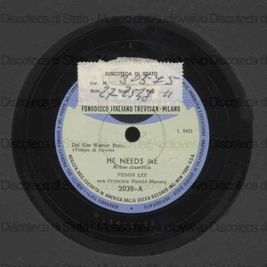 He needs me ; Sing a rainbow / Peggy Lee ; Orch. Mooney ; Harold Mooney, direttore