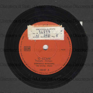 ''O ccafe'' ; Pasqualino maragia' / Domenico Modugno con accomp. ritmico
