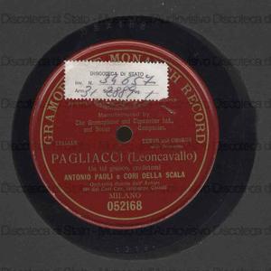 Pagliacci : Un tal gioco credetemi / Leoncavallo ; Antonio Paoli, tenore ; Cori della Scala ; Orchestra diretta dall'autore ; Cav. Giuseppe Cairati, direttore dei cori