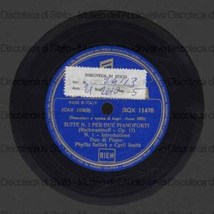 Suite n.2 per due pianoforti op.17 / Rachmaninoff ; Ph. Sellick, Cyril Smith, pianoforte