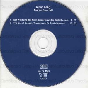 Trauermusiken /Klaus Lang; Amras Quartett