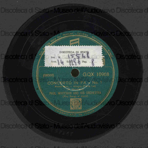 Concerto in Fa / G. Gershwin ; Paul Whiteman and his orchestra ; Roy Bargy al piano