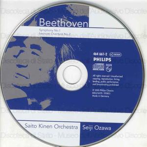 Symphony No. 1 in C major : op. 21 ; Leonore Overture No. 2 : op.72a / Ludwig van Beethoven ; Saito Kinen Orchestra