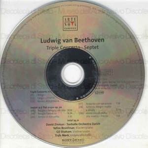 Triple concerto for piano, violin, violoncello and orchestra in C major Op. 56 ; Septet for violin, viola, clarinet, horn, bassoon, violoncello and double-bass in E flat major Op. 20 / Ludwig van Beethoven ; Tonhalle...
