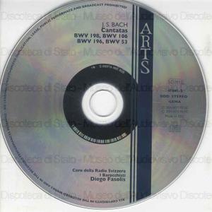 Cantatas : BWV198, BWV 106, BWV 196, BWV 53 / Johann Sebastian Bach ; Coro della Radio Svizzera ; I Barocchisti ; Diego Fasolis, dir ; N. Argenta, soprano ; B. Landaueur, Alto ; D. Auchincloss, tenor ; G. Zeppenfeld, Bass