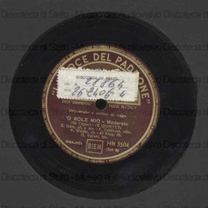 ''O sole mio : Moderato / Di Capua. Ritmo affascinante = Fascinating Rhytm : Da Lady be Good : Swing / George Gershwin ; [in entrambi i brani] X Quintet ; E. Intra, pianoforte e arrangiamento ; F. Caldironi, vibrafono ; P....