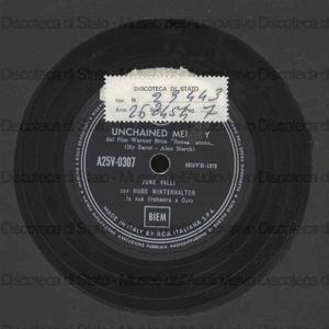 """Unchained melody : dal film Warner Bros """"Senza catene"""" / Hy Zaret ; Alex North. Tomorrow / Peter Hart ; Bob Geraldson ; [entrambi interpretati da] June Valli con Hugo Winterhalter e la sua Orchestra"""