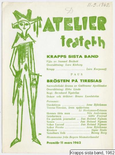 Krapps sista band, 1962, Krapp's last tape [orig. tit.], Krapps sista band