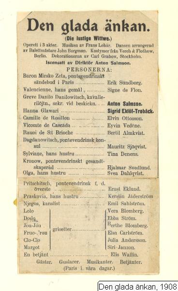 Den glada änkan, 1908, Glada änkan, 1908, Den glada änkan, Die lustige Witwe [orig. tit.], Glada änkan