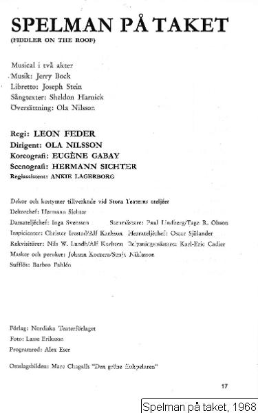 Spelman på taket, 1968, Fiddler on the roof [orig. tit.], Spelman på taket