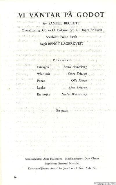 Vi väntar på Godot, 1955, En attendant Godot  [orig. tit.], Vi väntar på Godot, Waiting for Godot [orig. tit.]