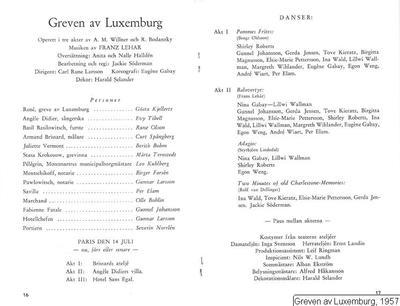 Greven av Luxemburg, 1957, Der Graf von Luxemburg, Greven av Luxemburg