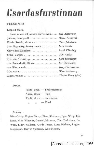 Csardasfurstinnan, 1955, Czardasfurstinnan, 1955, Die Csárdásfürstin [orig. tit.], Czardasfurstinnan, Csardasfurstinnan