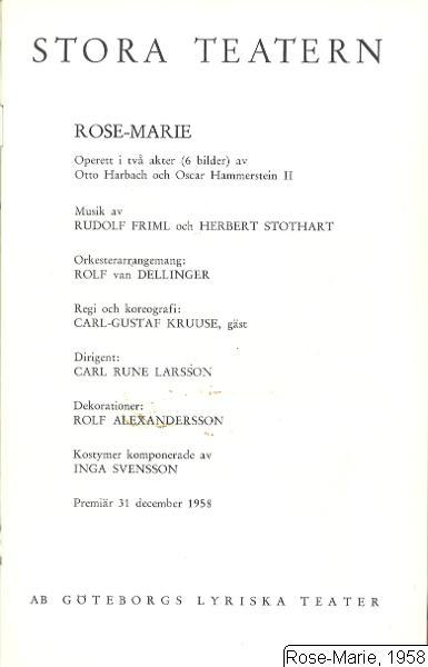 Rose-Marie, 1958, Rose-Marie