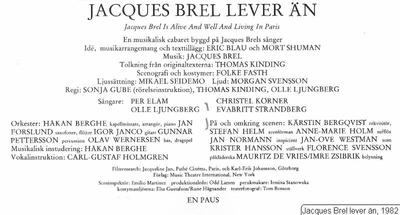Jacques Brel lever än, 1982, Jacques Brel lever än, Jacques Brel is alive and well and living in Paris